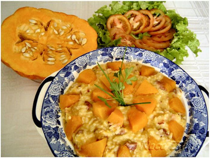 Risoto de carne seca com moranga