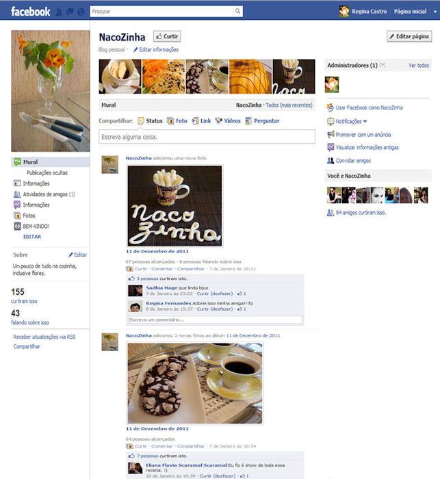 criação da fan page naco zinha