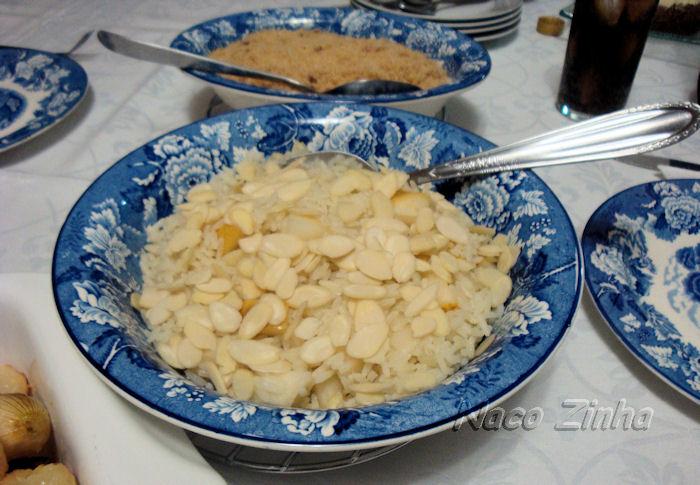 arroz com pera e erva-cidreira