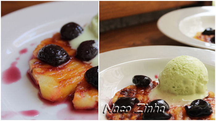 Abacaxi grelhado com cereja em calda e sorvete