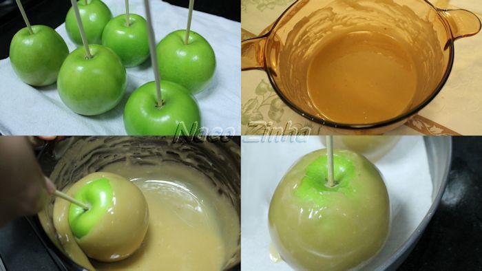 Maçã gourmet (caramel apple) - passo a passo