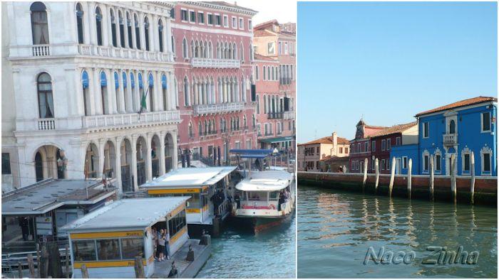 Vaporetto em Veneza e chegada em Burano