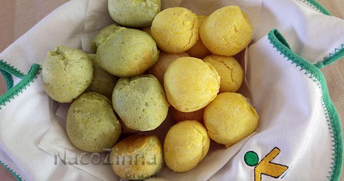 Pão de queijo verde e amarelo