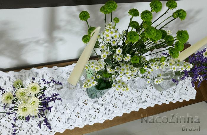 Bancada com flores