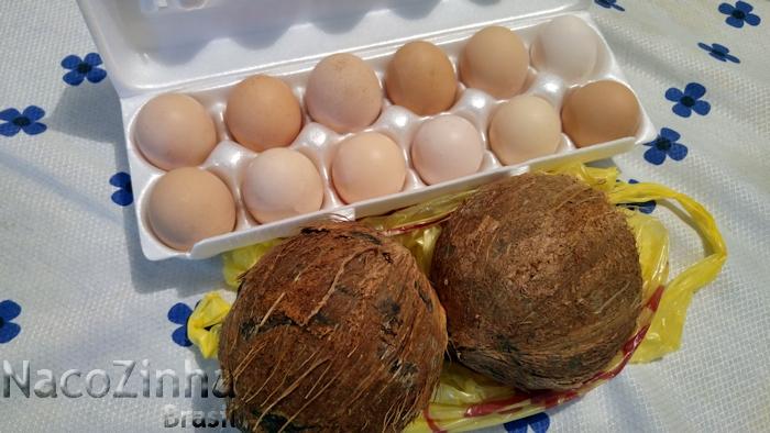Coisas simples da vida - ovos frescos e coco seco