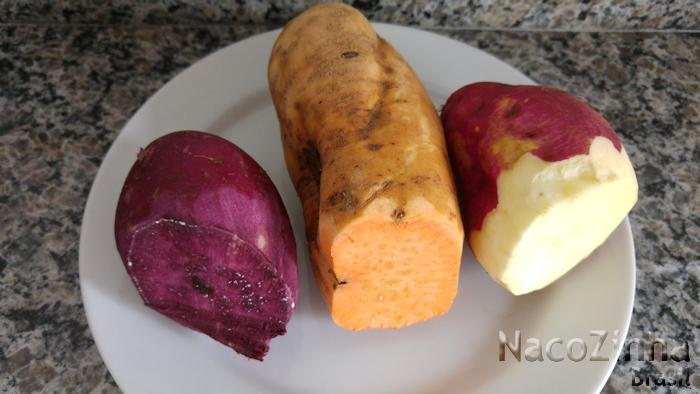 Batatas doces coloridas - roxa, salmão e amarela