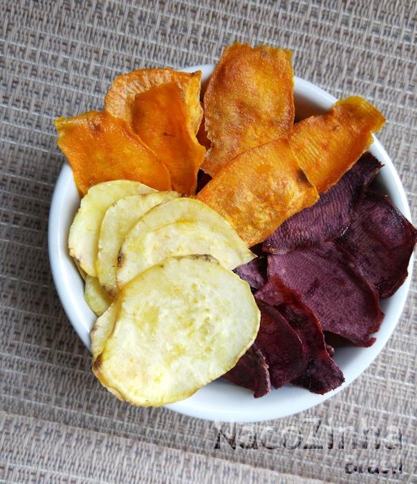 Chips de batata doce colorida - amarela, salmão e roxa