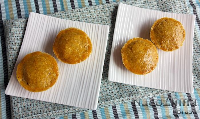 Empadas de farinha de castanha com cogumelos e bacon